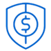 blue shield icon with dollar sign